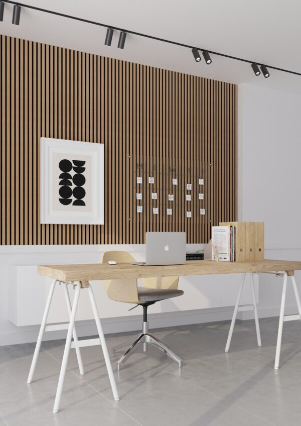 Lamelový obklad pracovna lamely panel woodpasta dub