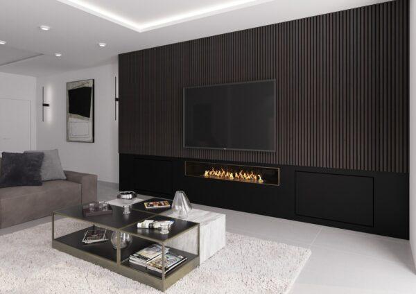 Lamelový obklad na televizní stěně s krbem panel woodpasta eben