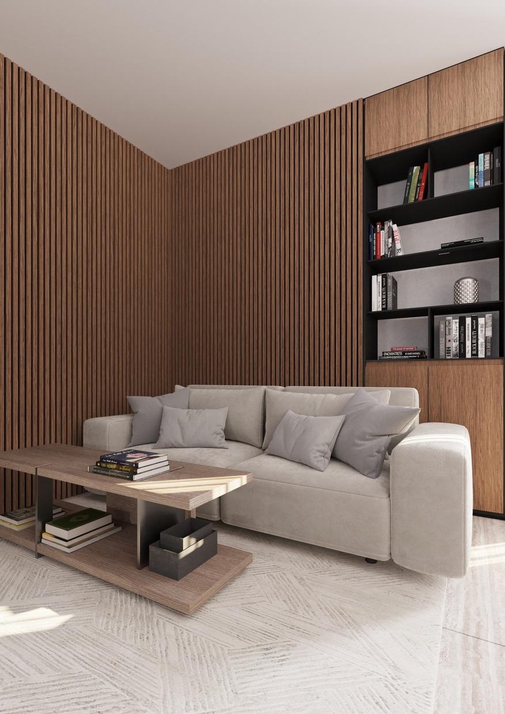 Lamelový obklad ořech na zdi obývací pokoj