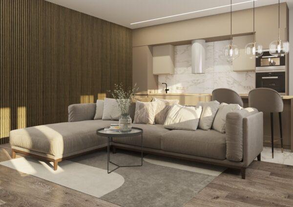 Lamelový obklad v obývacím pokoji lamely panel woodpasta šedý dub