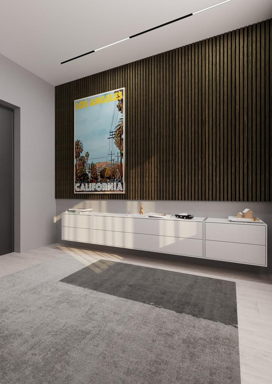 lamelová obývací stěna panel woodpasta lamely šedý dub
