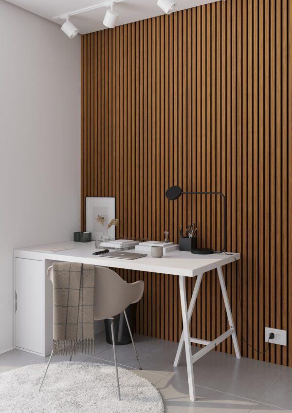 Lamely na stěně v pracovně, panel Woodpasta dekor teak