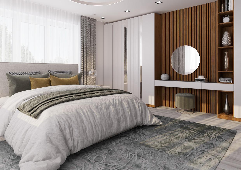 Lamely na stěně v ložnici, lamelové panely Woodpasta Teak