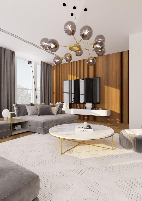 Lamelový obklad na televizní stěně v obývacím pokoji, panel Woodpasta dekor teak