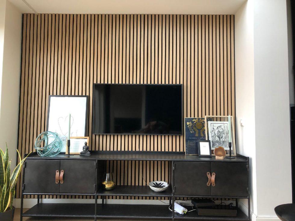 Lamelová stěna s televizí