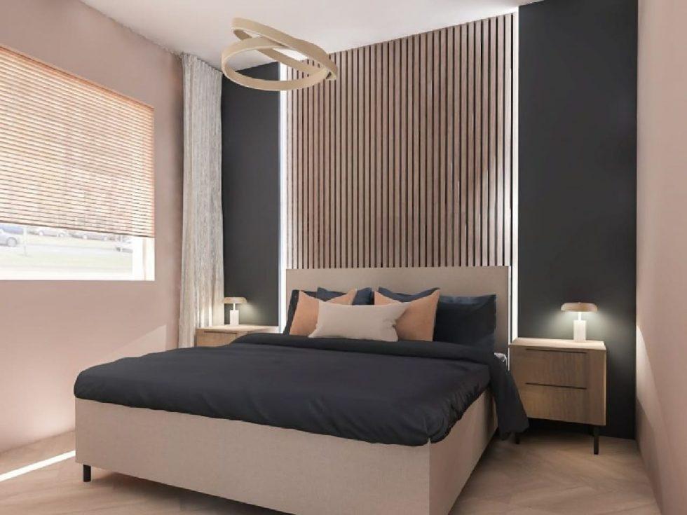 Lamelový obklad nad postelí