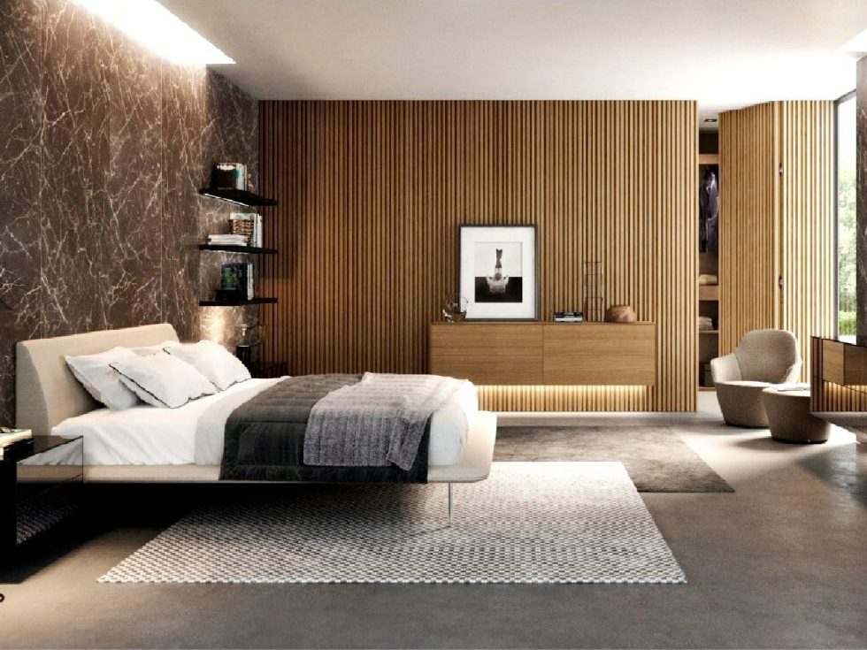 Dubové lamelové obklady v ložnici